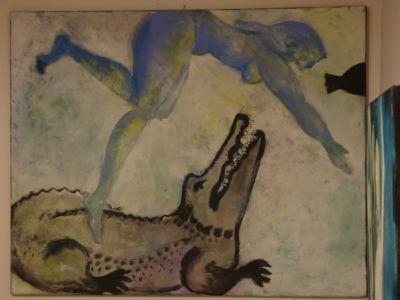 Da kommt das große Krokodil 80 x 100 cm
